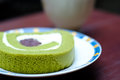 Green Tea Roll Cake Royalty Free Stock Photo - 83024475