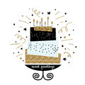 Cute Cake With Happy Birthday Wish. Modern Greeting Card Template. Creative Happy Birthday Background. Royalty Free Stock Image - 83041636