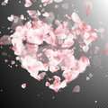 Heart With Falling Flower Petals Blossom. EPS 10 Stock Image - 83046521
