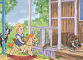 Boy On The Rocking Horse  With Cat And Dog In Summer House Stock Photography - 83049222