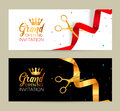 Grand Opening Invitation Banner. Golden Ribbon And Red Ribbon Cut Ceremony Event. Grand Opening Celebration Card Royalty Free Stock Images - 83080319