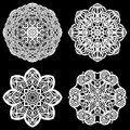 Set Of Design Elements, Lace Round Paper Doily, Doily To Decorate The Cake, Template For Cutting, Snowflake, Greeting Element, Met Stock Image - 83080461