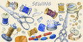Banner Of Various Hand Drawn Vintage Objects For Sewing, Handicraft And Handmade. Stock Photo - 83092230