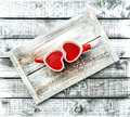 Heart Shaped Cups Red Tea Drink Valentines Day Vintage Stock Photo - 83093140