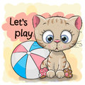 Cute Kitten With A Ball Stock Photo - 83136440