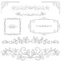Set Of Hand-drawn Vignettes, Flourishes, Corners, Text Dividers Stock Photos - 83142443