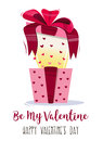 Present Bright Colorful, With A Bow And  Geometrical Pattern Hearts. Congratulation To The Valentine`s Day. Vector Royalty Free Stock Photography - 83146817