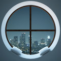 Circular Window With Night City View Stock Photography - 83159012
