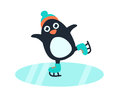 Little Cute Penguin In Skates Stock Photos - 83161623