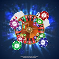 Casino Roulette Playing Cards  Falling Chips. Vector Royalty Free Stock Images - 83165269