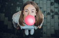 Young Teenage Girl Blowing Pink Bubble Gum Royalty Free Stock Images - 83176029