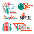 Set Of Watercolor Colorful Bowling Logo, Icons And Symbols Isolated On White. Royalty Free Stock Photography - 83181887