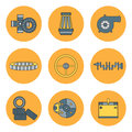 Line Flat Color Vector Icon Car Parts Set With Undercarriage End Internal Combustion Engine Elements. Industrial Royalty Free Stock Photography - 83190527