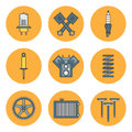 Line Flat Color Vector Icon Car Parts Set With Undercarriage End Internal Combustion Engine Elements. Industrial Royalty Free Stock Photography - 83191947