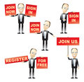 Men Holding Red Signs Royalty Free Stock Photos - 8329498