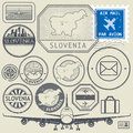 Slovenia Travel Or Adventure Theme Stamps Or Labels Set Royalty Free Stock Photo - 83208685