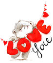 Cute Teddy Bear. Love You Card. Valentines Day Watercolor Background. Stock Photography - 83209822