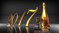 2017 With Champagne On Black Background Royalty Free Stock Photos - 83219208