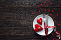 Festive Table Setting For Valentine`s Day With Fork, Knife And H Royalty Free Stock Photos - 83221418