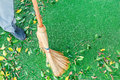 Working With Broom Sweeps Lawn From Fallen Leaves Royalty Free Stock Photo - 83225435