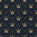 Seamless Pattern In Retro Style With A Gold Crown On A Blue Background. Can Be Used For Wallpaper, Pattern Fills, Web Page Backgro Royalty Free Stock Photography - 83226007