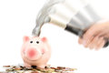 Piggy Bank Crashed Or Braked By Hammer On Money Pile Suggesting Financial Crisis Royalty Free Stock Image - 83226216