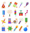 Pyrotechnics Burning Firework Colored Icons. Festival Firecrackers And Sparklers, Crackers  Petards  On White Background Stock Photos - 83226443