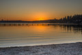 A View Of A Pier On A Lake In A Winter Sunset At Juanita Bay Park, Kirkland, Washington Royalty Free Stock Photography - 83230007