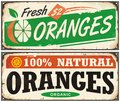Oranges Vintage Metal Signs Set Stock Images - 83234084