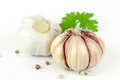 Garlic With Leaves Of Coriander Stock Images - 83235864