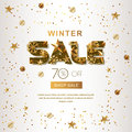 Winter Sale Banners With 3d Gold Stars And Snowflakes. Vector Winter Holidays Poster, Golden White Background. Royalty Free Stock Image - 83238196