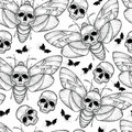 Vector Seamless Pattern With Dotted Black Death`s Head Hawk Moth Or Acherontia Atropos On The White Background. Royalty Free Stock Photos - 83248058