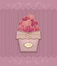 Hearts In Basket  Made From  Texture Paper Pink Lilac Pastel Colors Stock Photo - 83248490