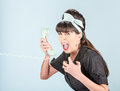 Close Up Of Yelling Retro Woman In Black Dress With Phone Receiv Stock Photography - 83255892