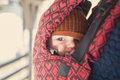 Closeup Portrait Of Baby In A Carrier Stock Photo - 83280190