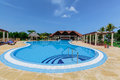 Nice Inviting View Of Luxury Swimming Pool At Premium Service Section Stock Photo - 83300720
