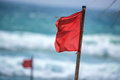 Red Warning Flag On Beach Royalty Free Stock Photography - 83300907