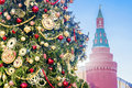 Christmas Fir Tree Near The Walls Of The Kremlin, Moscow Stock Images - 83321384