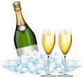 Two Glasses Of Champagne And Bottle In Ice Royalty Free Stock Photography - 83360247