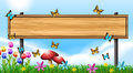 Wooden Sign Template With Butterflies In Garden Stock Photography - 83361012