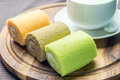 Cake Rolls On Wooden Plate Royalty Free Stock Photo - 83377945