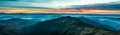 Panorama With Blue Mountains And Hills At Sunset Royalty Free Stock Images - 83382129