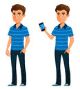 Young Cartoon Guy Holding A Mobile Phone Stock Images - 83386634