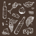 Vector Set Of Sketches Beverage And Food On A Dark Background. Wine Bottle, Wineglass, Fruit, Piece, The Branches The Stock Image - 83391151