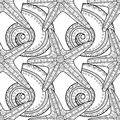 Black White Seamless Pattern With Decorative Sea Shells For Coloring Stock Image - 83409581