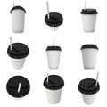 Disposable Coffee Cup. Blank Paper Mug With Plastic Cap Stock Images - 83410664