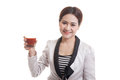 Young Asian Business Woman Drink Tomato Juice. Royalty Free Stock Photos - 83421518