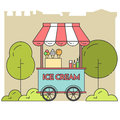City Landscape With Ice Cream On Wheels In Public Park Stock Image - 83424021