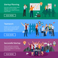 Startup People Flat Banners Set Stock Photos - 83425323