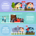 Conflicts With Neighbors Banners Set Stock Images - 83425414